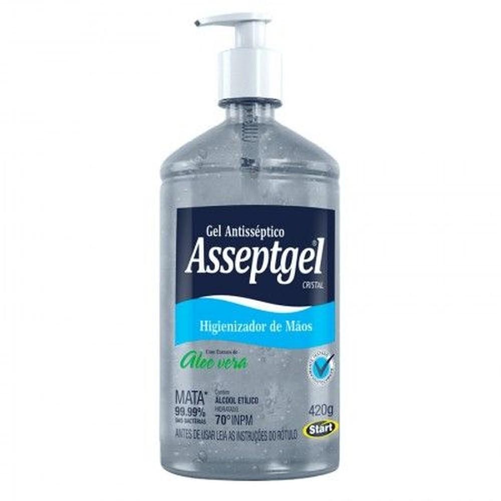 Álcool Em Gel Asseptgel 70% Antisséptico Higienizador De Mãos 420g